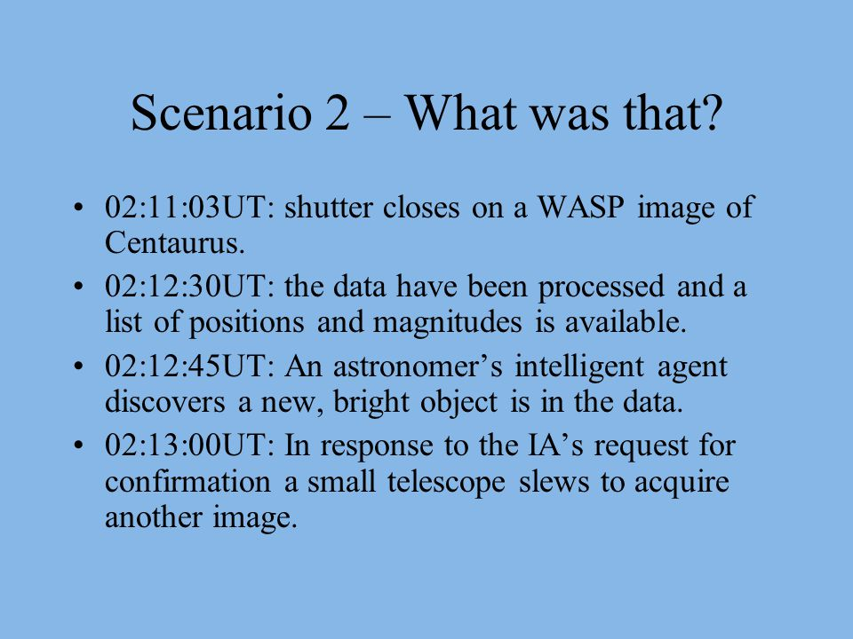 Scenario 2 – What was that. 02:11:03UT: shutter closes on a WASP image of Centaurus.