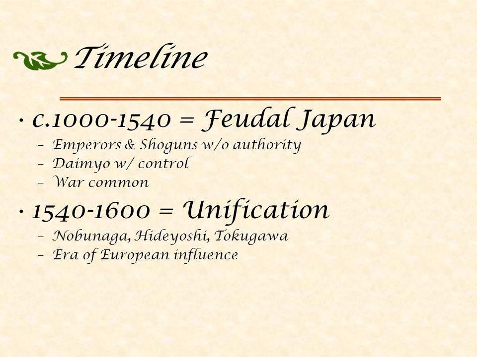 Timeline c.1000-1540 = Feudal Japan –Emperors & Shoguns w/o authority –Daimyo w/ control –War common 1540-1600 = Unification –Nobunaga, Hideyoshi, Tokugawa –Era of European influence