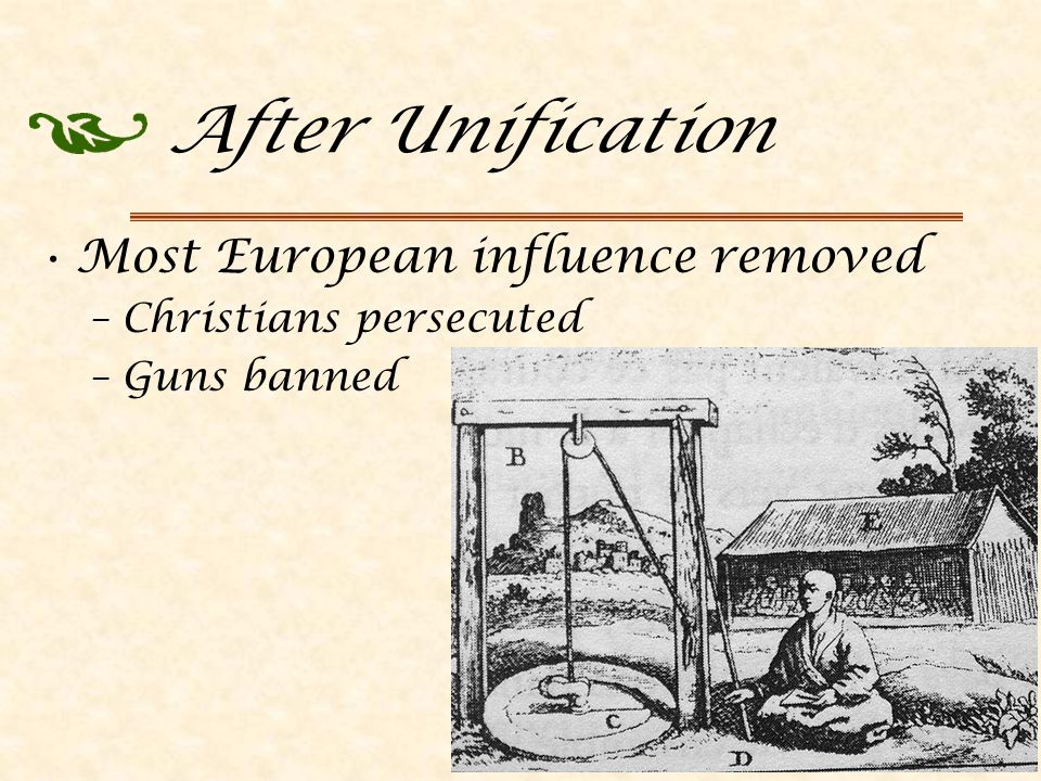 After Unification Most European influence removed –Christians persecuted –Guns banned