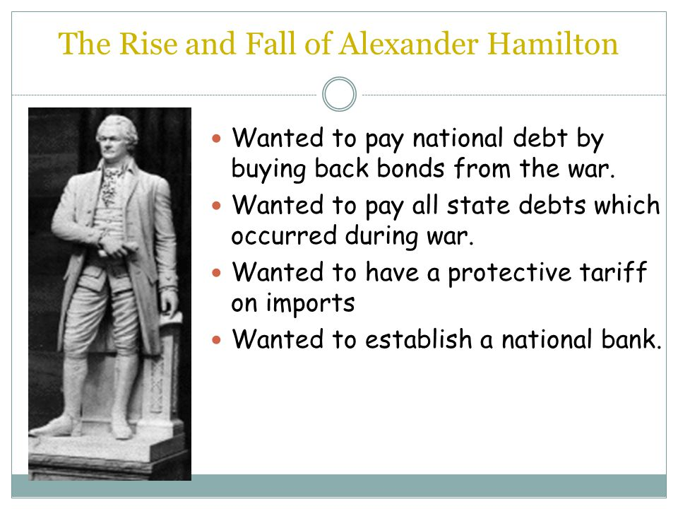 Hamilton's Plan Proposed that the new government pay off the millions of dollars in debts Proposed to pay of state debts from war Proposed to pay off all bonds
