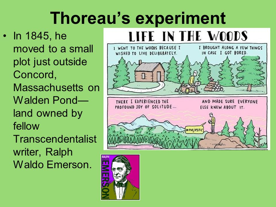 Thoreau's experiment In 1845, he moved to a small plot just outside Concord, Massachusetts on Walden Pond— land owned by fellow Transcendentalist writ