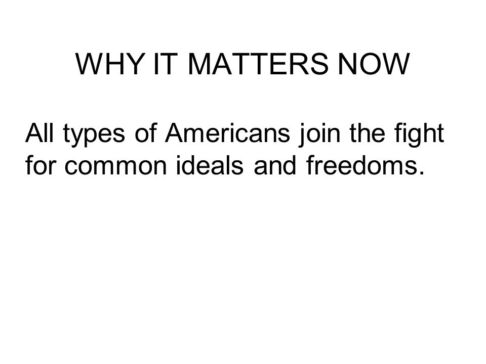 WHY IT MATTERS NOW All types of Americans join the fight for common ideals and freedoms.
