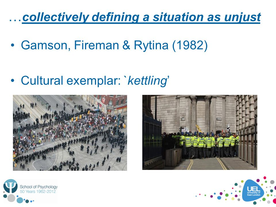 … collectively defining a situation as unjust Gamson, Fireman & Rytina (1982) Cultural exemplar: `kettling'