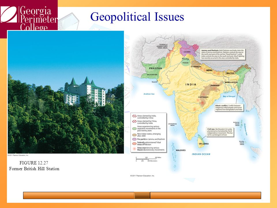 FIGURE 12.25 Geopolitical Issues FIGURE 12.27 Former British Hill Station