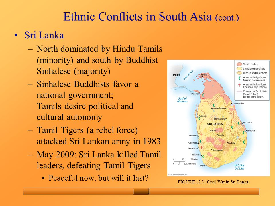 Ethnic Conflicts in South Asia (cont.) Sri Lanka –North dominated by Hindu Tamils (minority) and south by Buddhist Sinhalese (majority) –Sinhalese Buddhists favor a national government; Tamils desire political and cultural autonomy –Tamil Tigers (a rebel force) attacked Sri Lankan army in 1983 –May 2009: Sri Lanka killed Tamil leaders, defeating Tamil Tigers Peaceful now, but will it last.