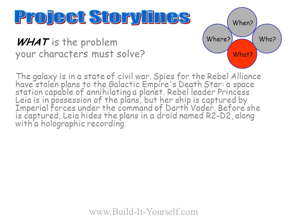 WHAT is the problem your characters must solve. The galaxy is in a state of civil war.