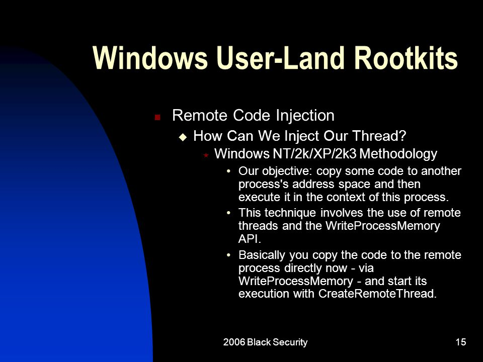 2006 Black Security15 Windows User-Land Rootkits Remote Code Injection  How Can We Inject Our Thread.