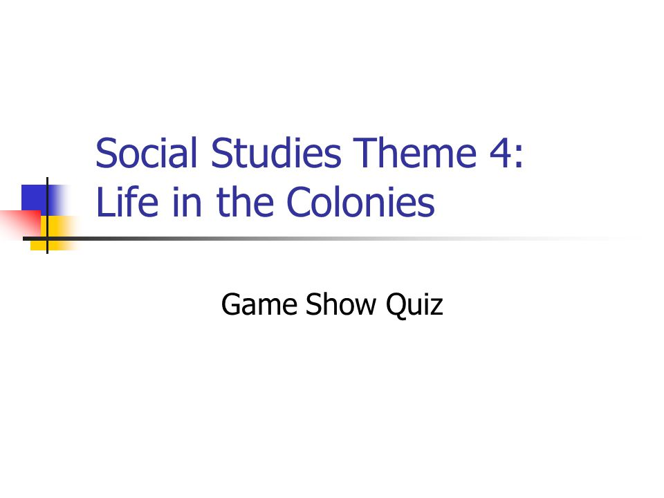 Social Studies Theme 4: Life in the Colonies Game Show Quiz