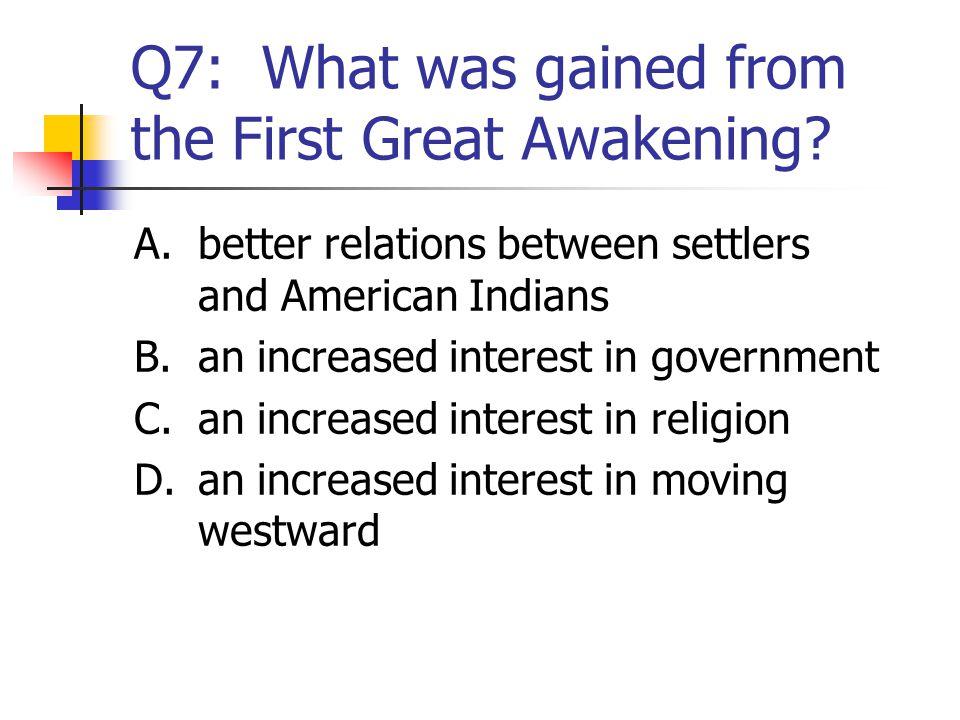 Q8: John Smith was a leader in A. Massachusetts. B.Virginia. C.Carolina. D.Plymouth.