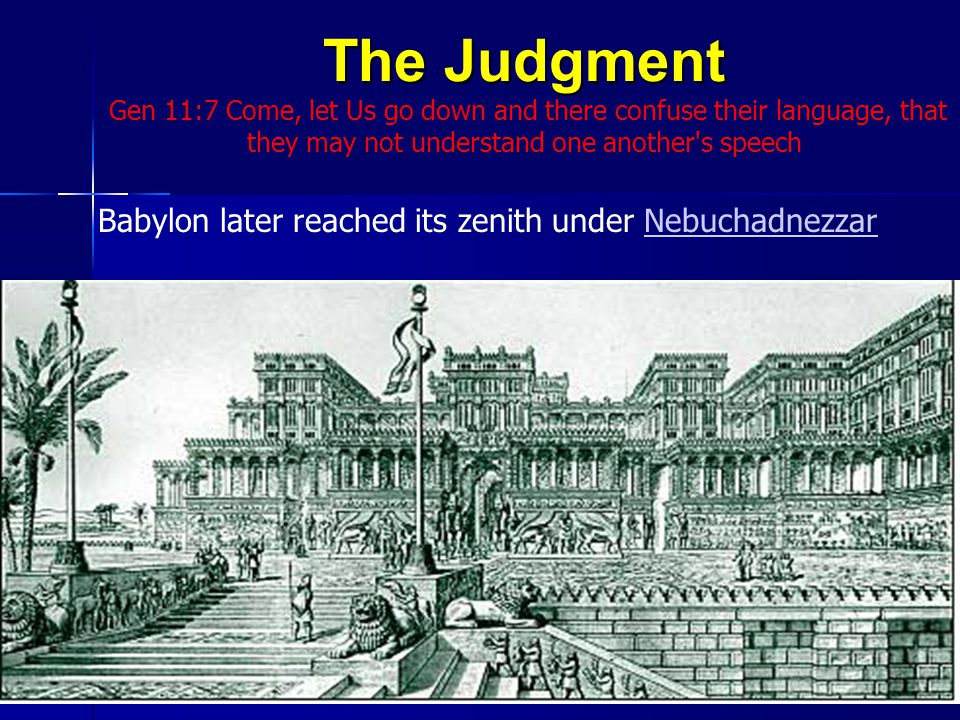 The Judgment Gen 11:7 Come, let Us go down and there confuse their language, that they may not understand one another s speech Babylon later reached its zenith under NebuchadnezzarNebuchadnezzar31