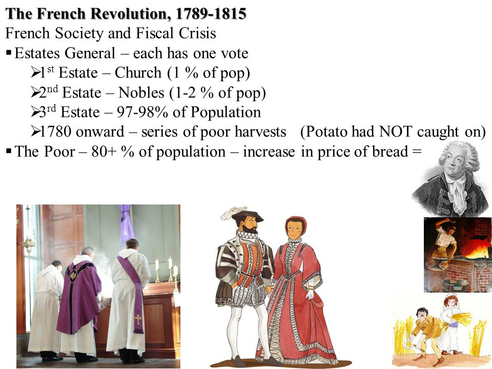 The French Revolution, 1789-1815 French Society and Fiscal Crisis  Estates General – each has one vote  1 st Estate – Church (1 % of pop)  2 nd Estate – Nobles (1-2 % of pop)  3 rd Estate – 97-98% of Population  1780 onward – series of poor harvests(Potato had NOT caught on)  The Poor – 80+ % of population – increase in price of bread =