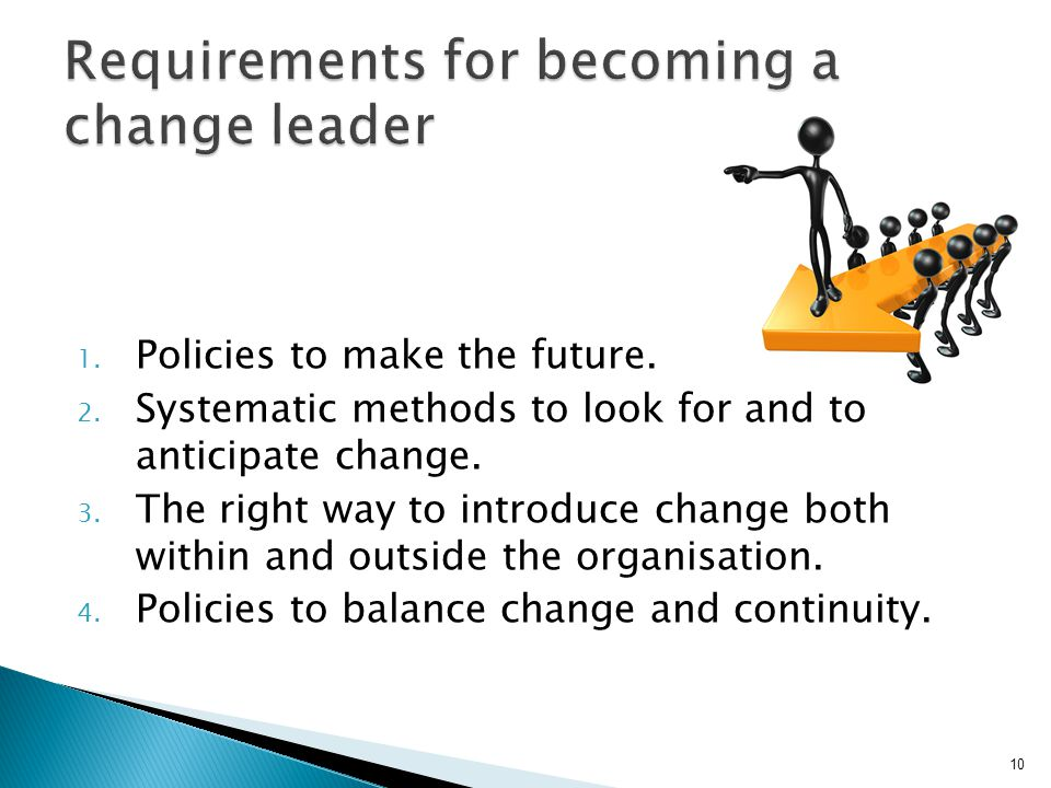 1. Policies to make the future. 2. Systematic methods to look for and to anticipate change. 3. The right way to introduce change both within and outsi