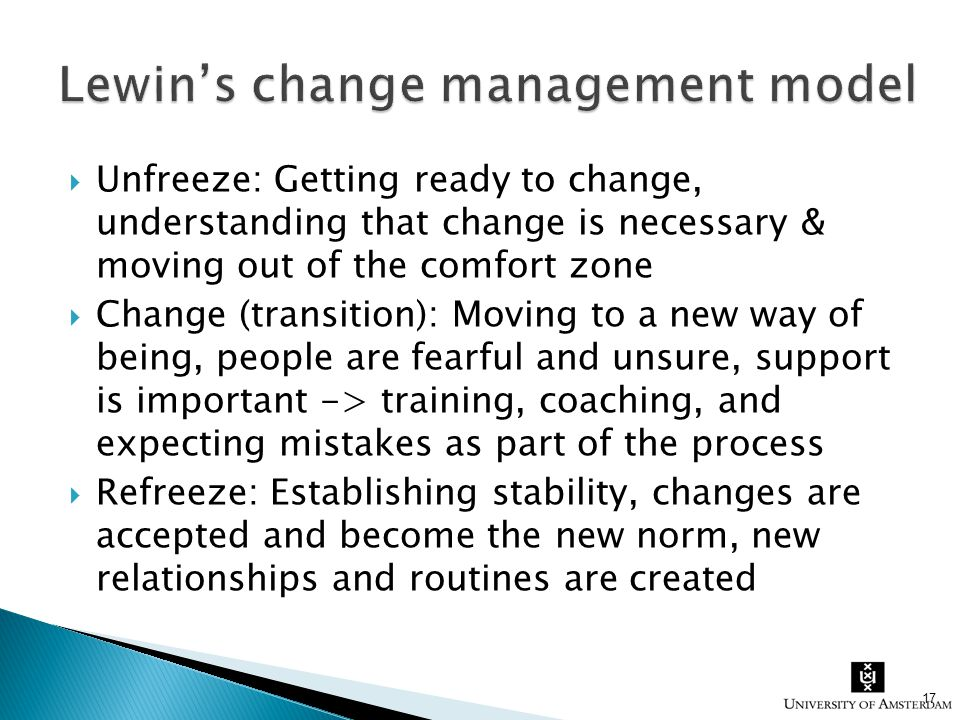  Unfreeze: Getting ready to change, understanding that change is necessary & moving out of the comfort zone  Change (transition): Moving to a new wa