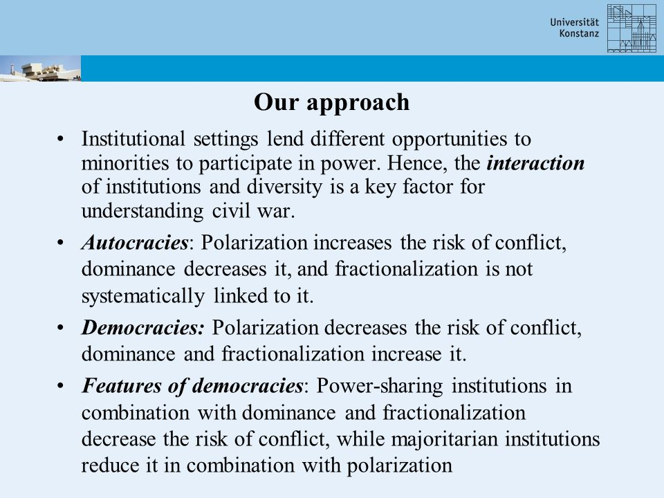 Our approach Institutional settings lend different opportunities to minorities to participate in power.