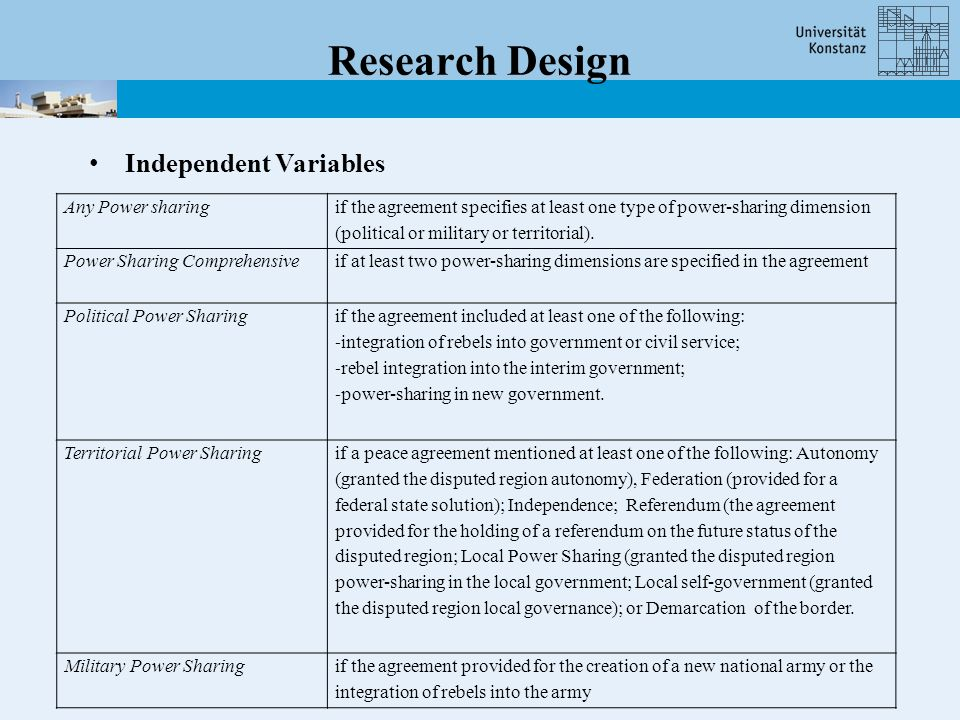 Research Design Any Power sharing if the agreement specifies at least one type of power-sharing dimension (political or military or territorial).