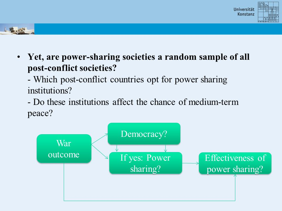 Yet, are power-sharing societies a random sample of all post-conflict societies.