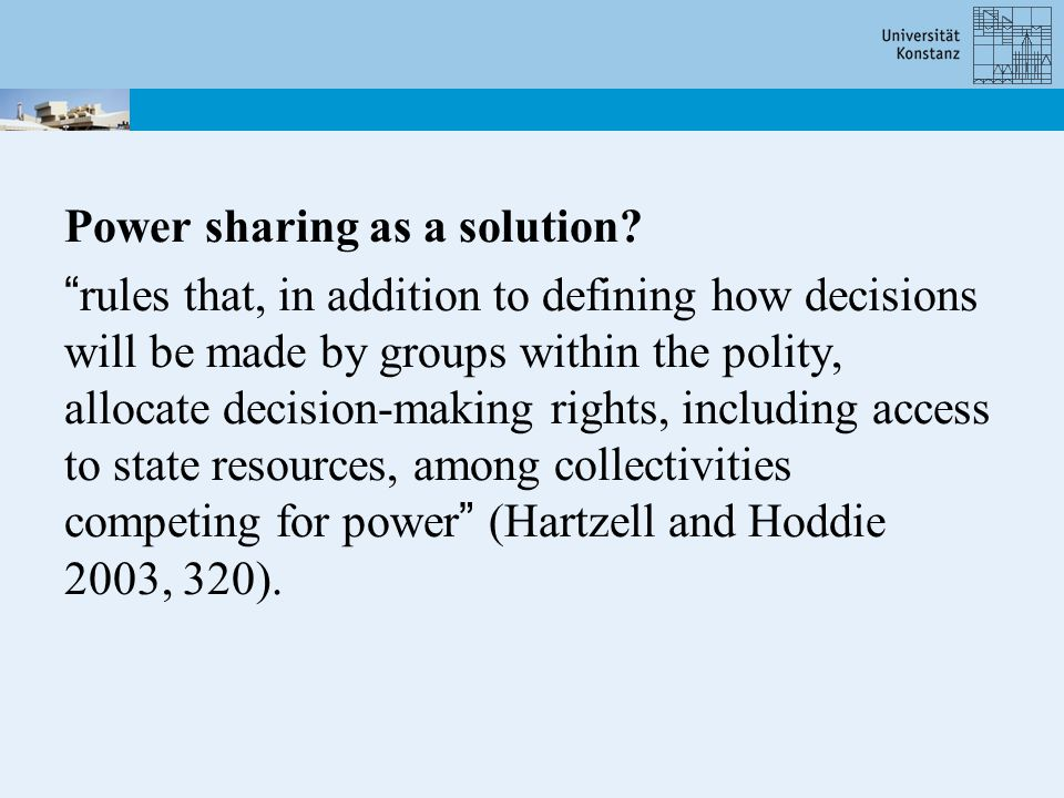 H1: (Adoption of power sharing) A: If a civil war had ended with a victory of one side or inconclusively, a country is less likely to experience free and fair elections and to maintain or introduce power-sharing institutions in the first period of post-conflict reconstruction.