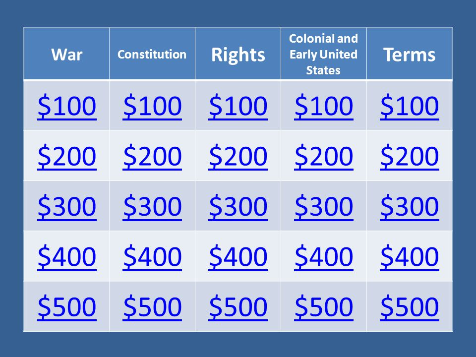 War Constitution Rights Colonial and Early United States Terms $100 $200 $300 $400 $500
