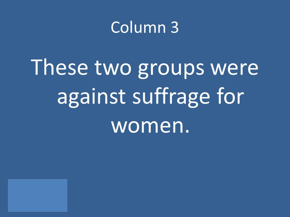 Column 3 These two groups were against suffrage for women.