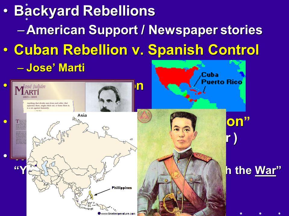 Backyard RebellionsBackyard Rebellions –American Support / Newspaper stories Cuban Rebellion v.