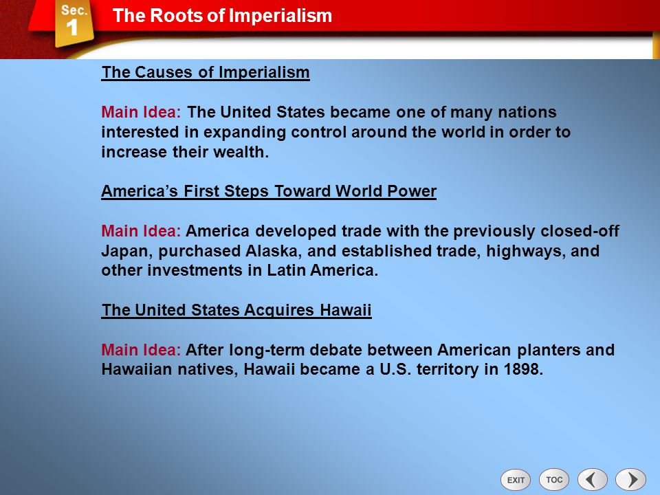 The Roots of Imperialism The Causes of Imperialism Main Idea: The United States became one of many nations interested in expanding control around the world in order to increase their wealth.