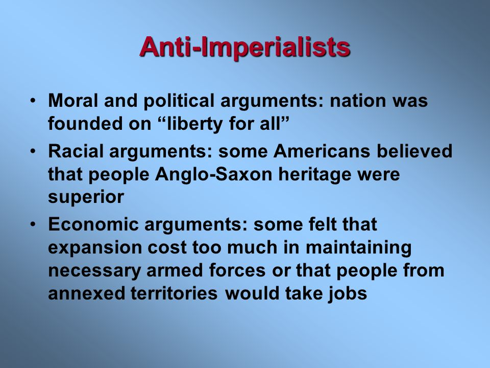 Imperialism's Appeal Many Americans felt that imperialism offered a New Frontier abroad. Many supported the effort to gain foreign markets for U.S. pr