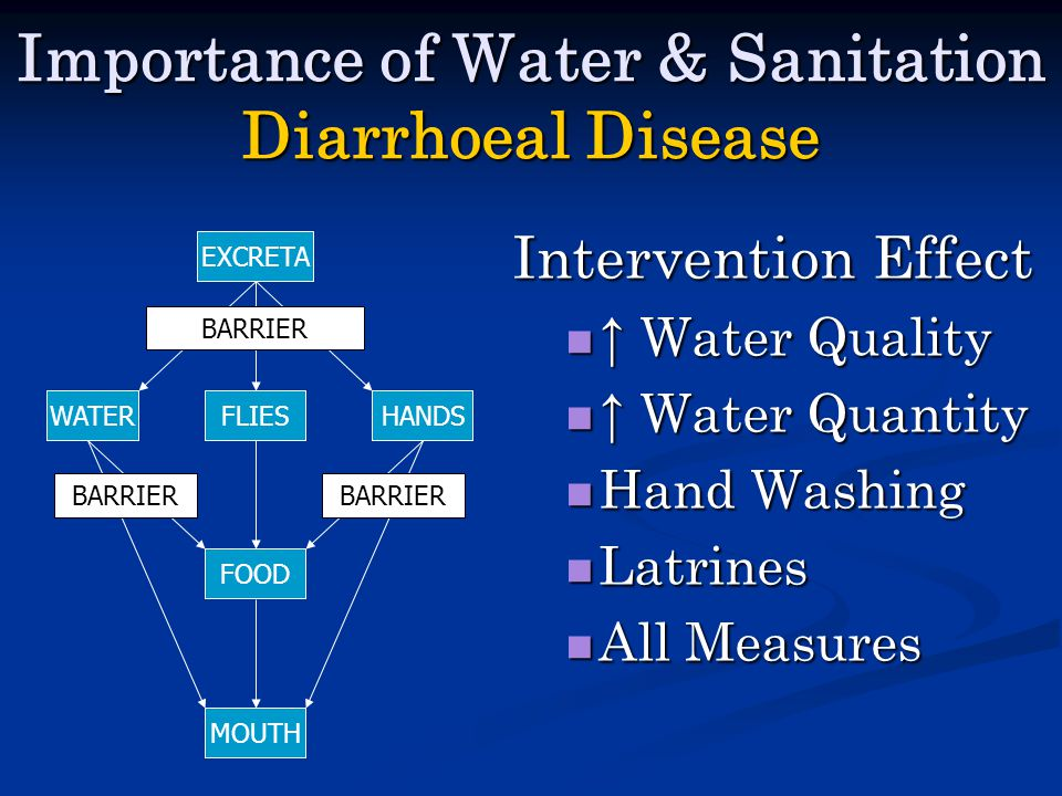 Importance of Water & Sanitation Diarrhoeal Disease Intervention Effect ↑ Water Quality ↑ Water Quality ↑ Water Quantity ↑ Water Quantity Hand Washing Hand Washing Latrines Latrines All Measures All Measures EXCRETA WATERFLIESHANDS MOUTH FOOD BARRIER