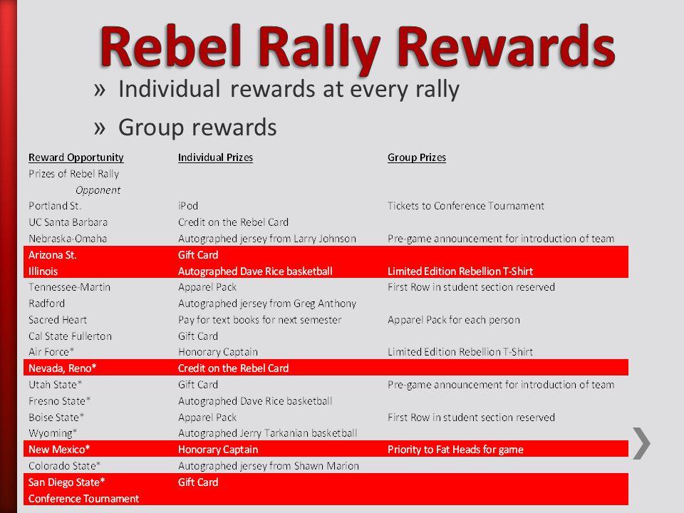 » Individual rewards at every rally » Group rewards