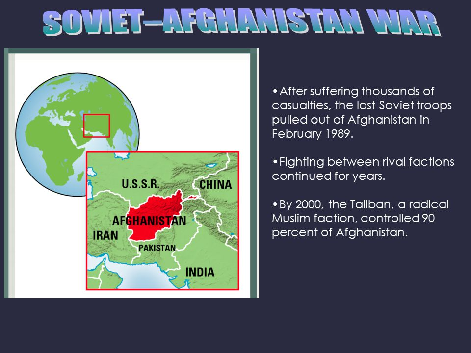 After suffering thousands of casualties, the last Soviet troops pulled out of Afghanistan in February 1989.