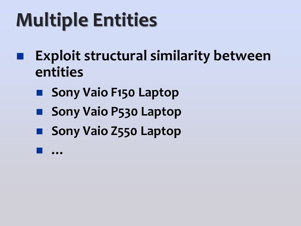 Multiple Entities Exploit structural similarity between entities Sony Vaio F150 Laptop Sony Vaio P530 Laptop Sony Vaio Z550 Laptop …