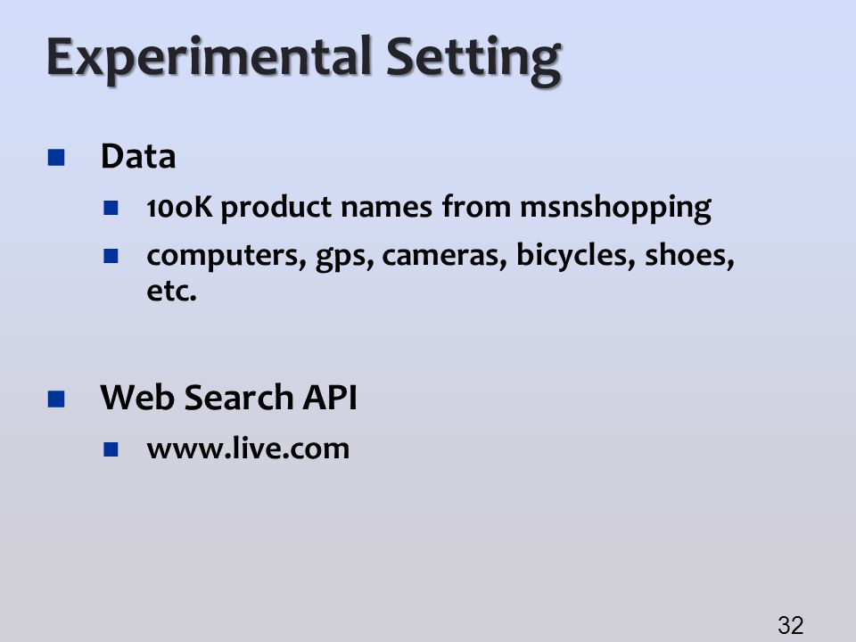 Experimental Setting Data 10oK product names from msnshopping computers, gps, cameras, bicycles, shoes, etc. Web Search API www.live.com 32