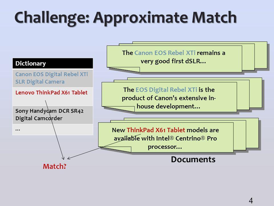 Challenge: Approximate Match Documents Dictionary Canon EOS Digital Rebel XTi SLR Digital Camera Lenovo ThinkPad X61 Tablet Sony Handycam DCR SR42 Dig