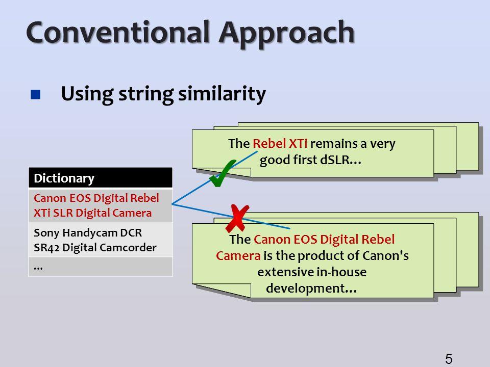Conventional Approach Using string similarity 5 Dictionary Canon EOS Digital Rebel XTi SLR Digital Camera Sony Handycam DCR SR42 Digital Camcorder … T