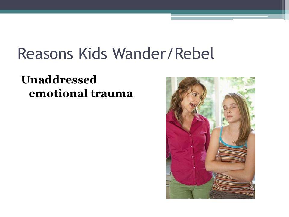 Reasons Kids Wander/Rebel Unaddressed emotional trauma