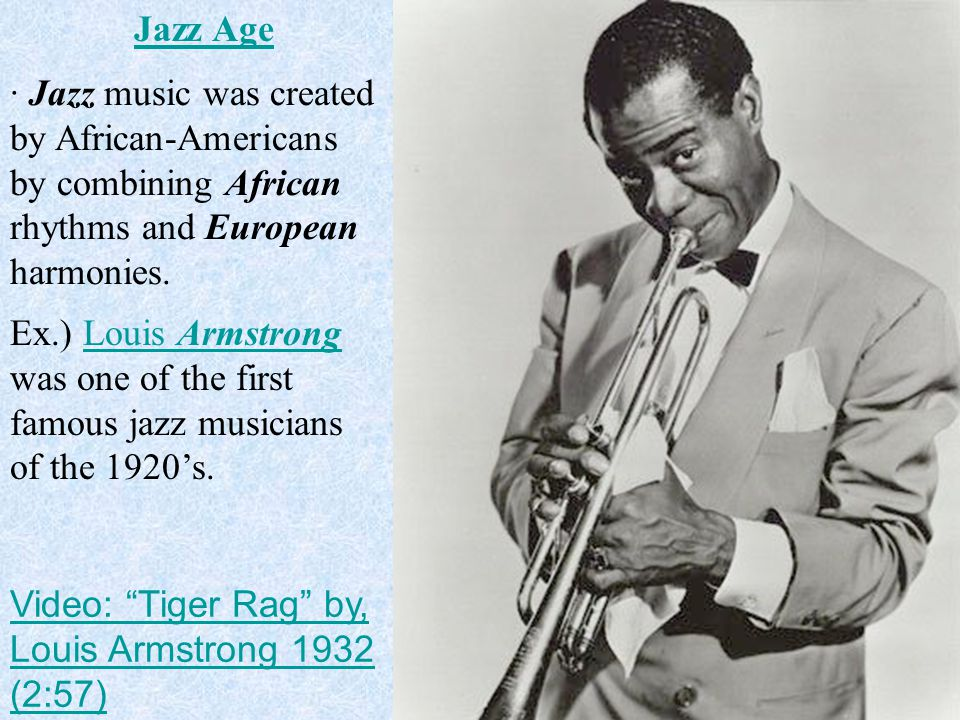 · Jazz music was created by African-Americans by combining African rhythms and European harmonies.