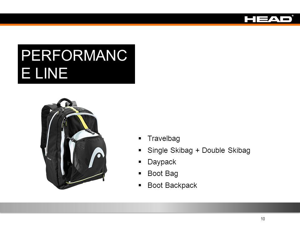 10 PERFORMANC E LINE  Travelbag  Single Skibag + Double Skibag  Daypack  Boot Bag  Boot Backpack