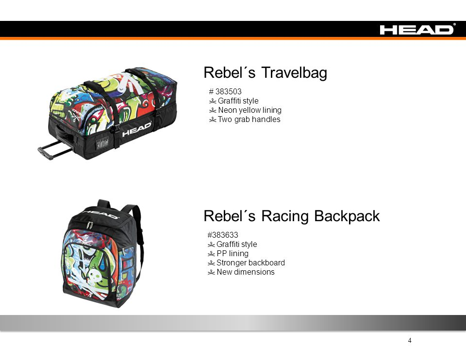 4 Rebel´s Travelbag # 383503 Graffiti style Neon yellow lining Two grab handles Rebel´s Racing Backpack #383633 Graffiti style PP lining Stronger back