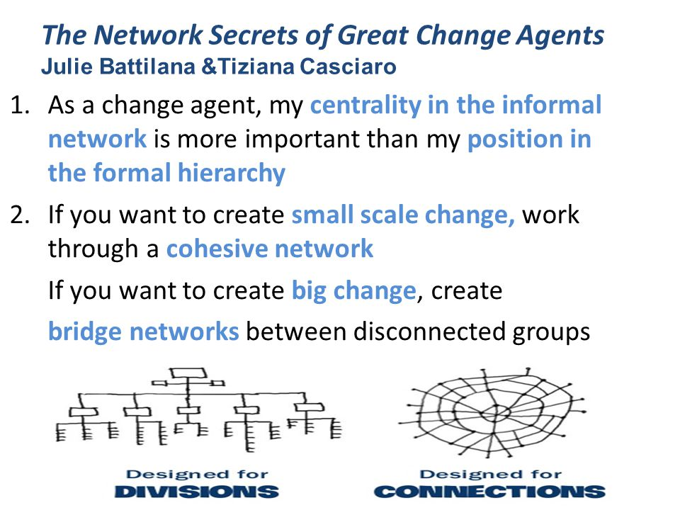 The Network Secrets of Great Change Agents Julie Battilana &Tiziana Casciaro 1.As a change agent, my centrality in the informal network is more important than my position in the formal hierarchy 2.If you want to create small scale change, work through a cohesive network If you want to create big change, create bridge networks between disconnected groups