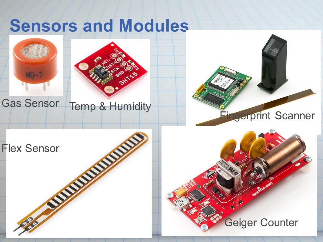 Sensors and Modules Gas Sensor Temp & Humidity Flex Sensor Fingerprint Scanner Geiger Counter