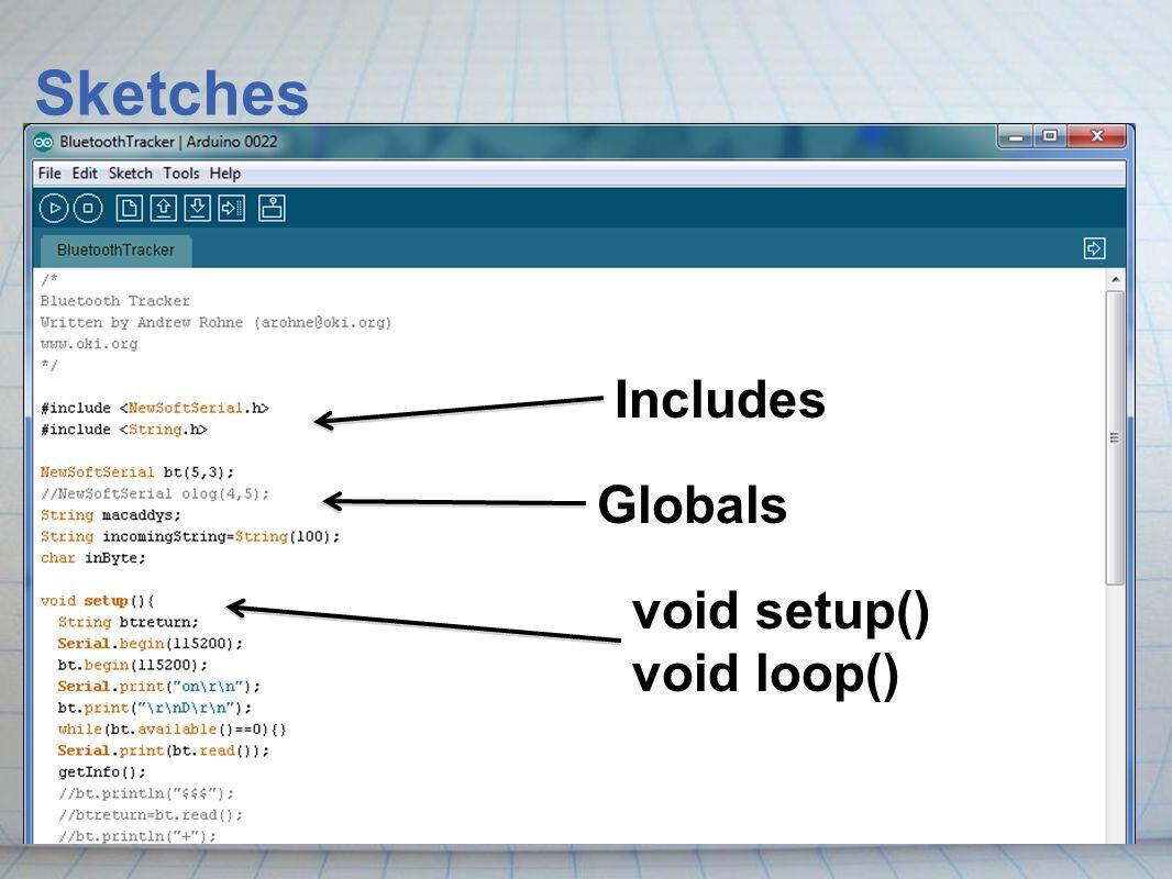 Sketches Includes Globals void setup() void loop()