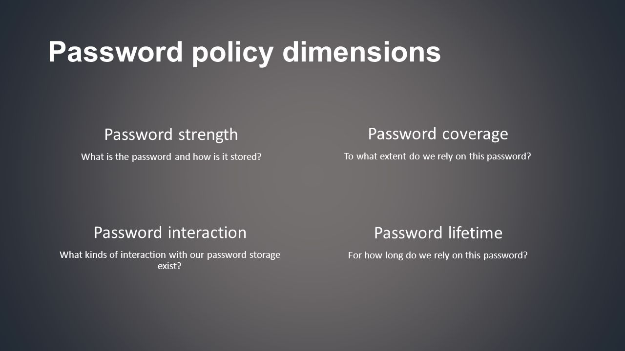 Password policy dimensions Password strength What is the password and how is it stored.