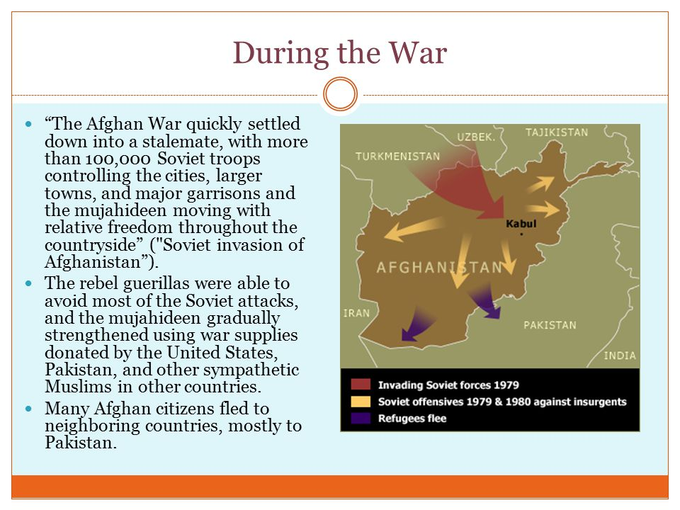 During the War The Afghan War quickly settled down into a stalemate, with more than 100,000 Soviet troops controlling the cities, larger towns, and major garrisons and the mujahideen moving with relative freedom throughout the countryside ( Soviet invasion of Afghanistan ).