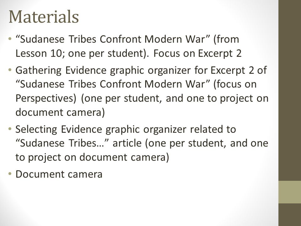 Materials Sudanese Tribes Confront Modern War (from Lesson 10; one per student).