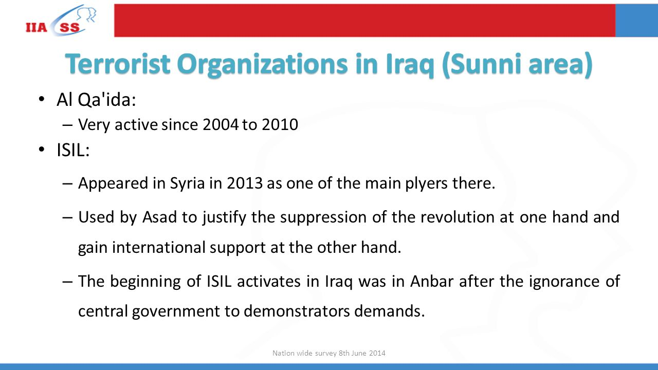 Al Qa ida: – Very active since 2004 to 2010 ISIL: – Appeared in Syria in 2013 as one of the main plyers there.