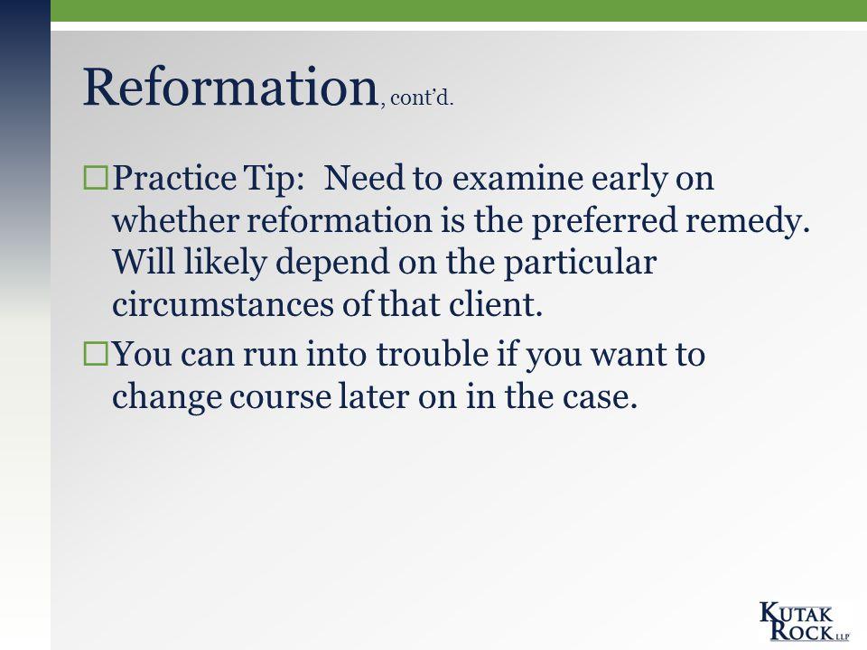 Reformation, cont'd.