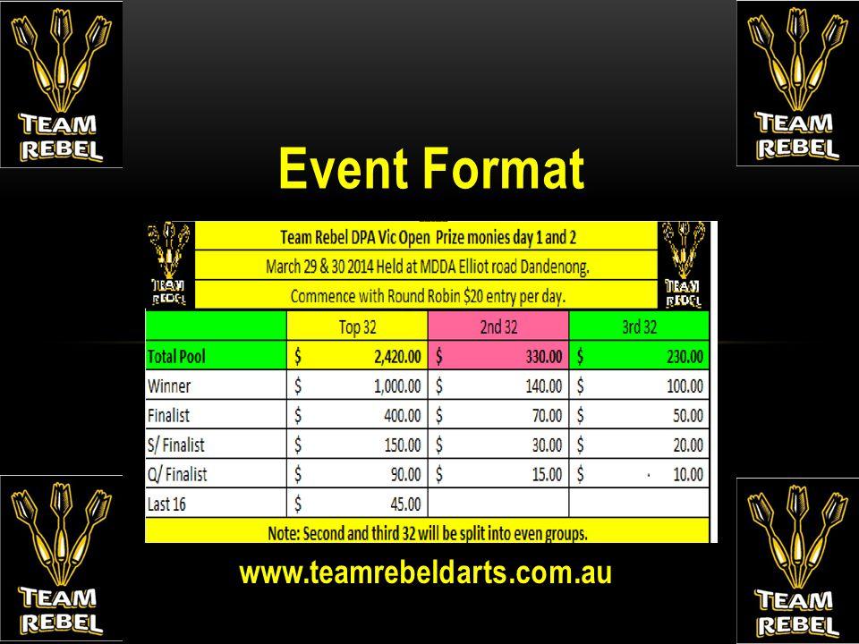 www.teamrebeldarts.com.au Event Format