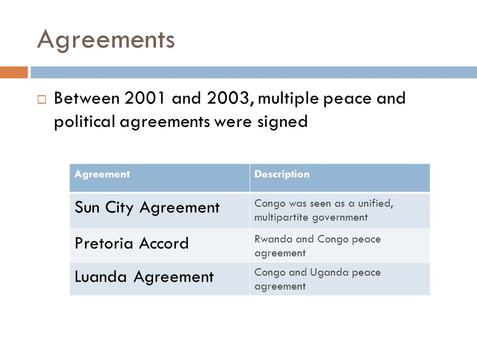 Agreements  Between 2001 and 2003, multiple peace and political agreements were signed AgreementDescription Sun City Agreement Congo was seen as a unified, multipartite government Pretoria Accord Rwanda and Congo peace agreement Luanda Agreement Congo and Uganda peace agreement