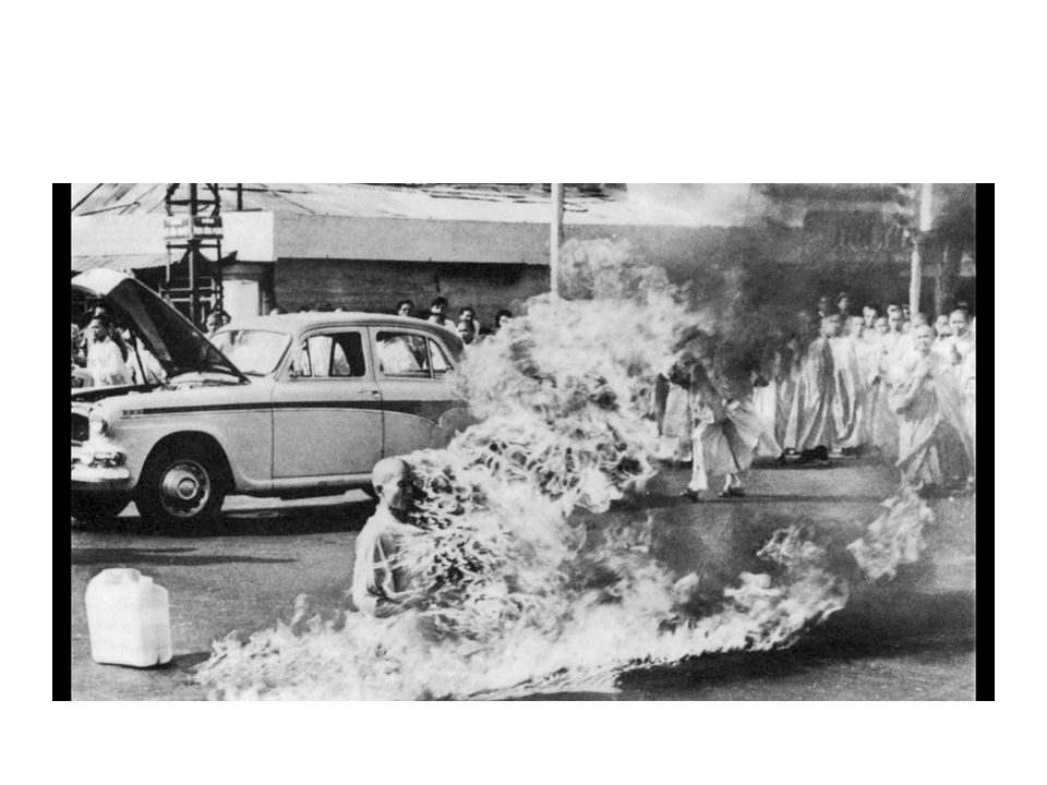 The picture of this burning monk is the most symbolic image of protest of the Vietnam War.