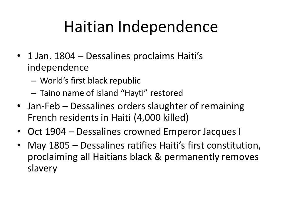 Haitian Independence 1 Jan.