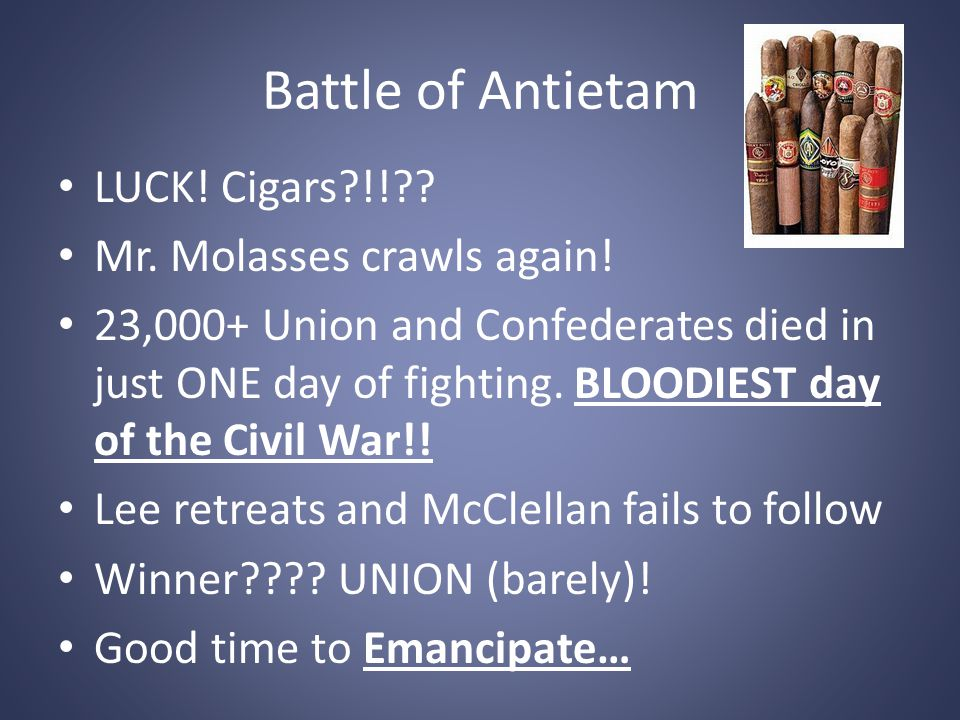 Battle of Antietam LUCK! Cigars?!!?? Mr. Molasses crawls again! 23,000+ Union and Confederates died in just ONE day of fighting. BLOODIEST day of the